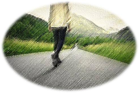 walking on long road